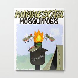 Minnesota Mosquitoes Cartoon - Camping by Tiki Torch Metal Print