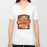 ale giorgini V-neck T-shirts featuring American Cream Ale by La Femina Brewing Co.