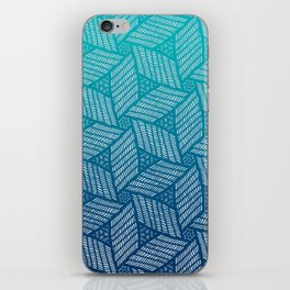 Japanese style wood carving pattern in blue iPhone Skin