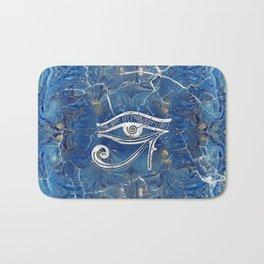 Silver Egyptian Eye of Horus  on blue marble Bath Mat