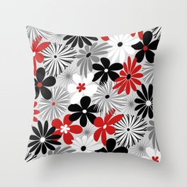 Funky Flowers in Red, Gray, Black and White Throw Pillow