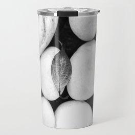 Zen White Stones On A Black Background #decor #society6 #buyart Travel Mug