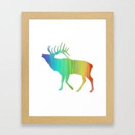 Rainbow Watercolor Dripping Elk II Framed Art Print