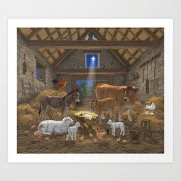Baby Jesus Divine Manger Holy Night Christmas Nativity Scene Barnyard Farm Animals Art Print