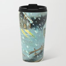 Snowy house in the woods vintage Travel Mug