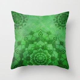 Emerald Green Lotus Mandala Throw Pillow