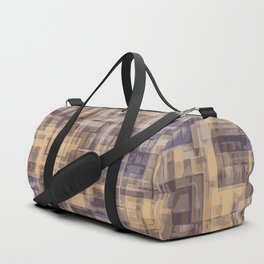 psychedelic geometric square pattern abstract in brown and blue Duffle Bag