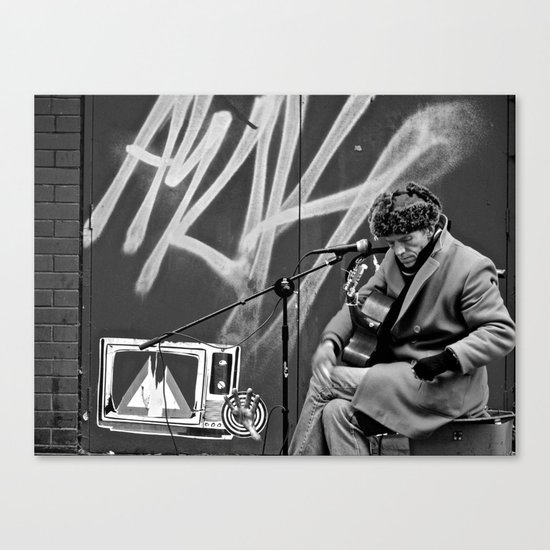 Busking in Belfast 2 Canvas Print