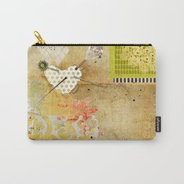 Neutral & Green Abstract Art Collage Carry-All Pouch
