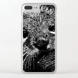 furry fish otter splatter watercolor black white Clear iPhone Case