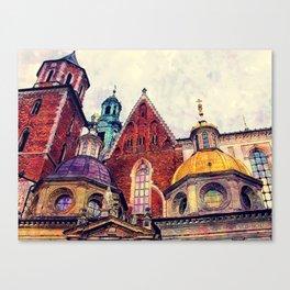 Wawel Cracow watercolor Canvas Print