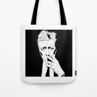 david lynch Tote Bags featuring David Lynch by Olivier Carignan