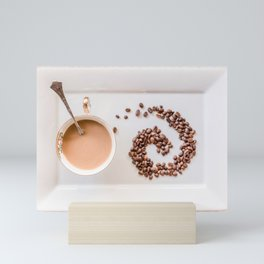 Hot Coffee & Coffee Bean Swirl Mini Art Print