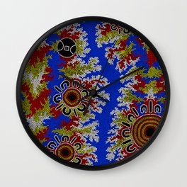 Authentic Aboriginal Art - Waterholes Corela Wall Clock