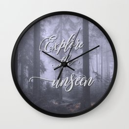 Explore the unseen mystic misty woods adventure Wall Clock