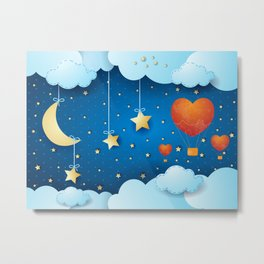 Surreal night with crescent and ballons Metal Print