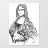 mona lisa Canvas Prints featuring Mona Lisa by April Gann