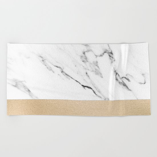 White Marble with Black and Copper Bronze Beach Towel