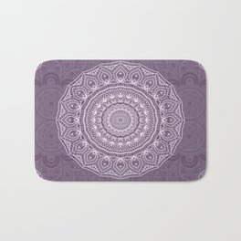White Lace on Lavender Bath Mat