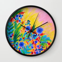 NATURAL ROMANCE in PINK - October Floral Garden Sweet Feminine Colorful Rainbow Flowers Painting Wall Clock