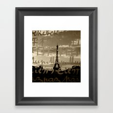 The Eiffel Tower behind the peace word-Sepia-Traveling series Framed Art Print