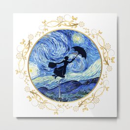 Mary Poppins Starry Night - Golden Floral Frame Metal Print