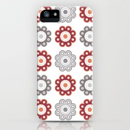 Dark Pink and Gray Floral - Large iPhone Case