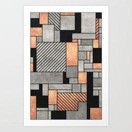 Random Pattern - Concrete and Copper Art Print
