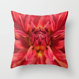 Dahlia red flower Throw Pillow
