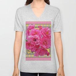 CLUSTERED PINK ROSES ART DECO ART Unisex V-Neck