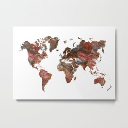 Siena Rosso Marble World Map Metal Print