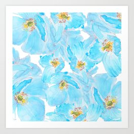 blue poppy pattern Art Print