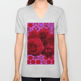 CLUSTER OF RED ROSES ON  RED-VIOLET ABSTRACT Unisex V-Neck