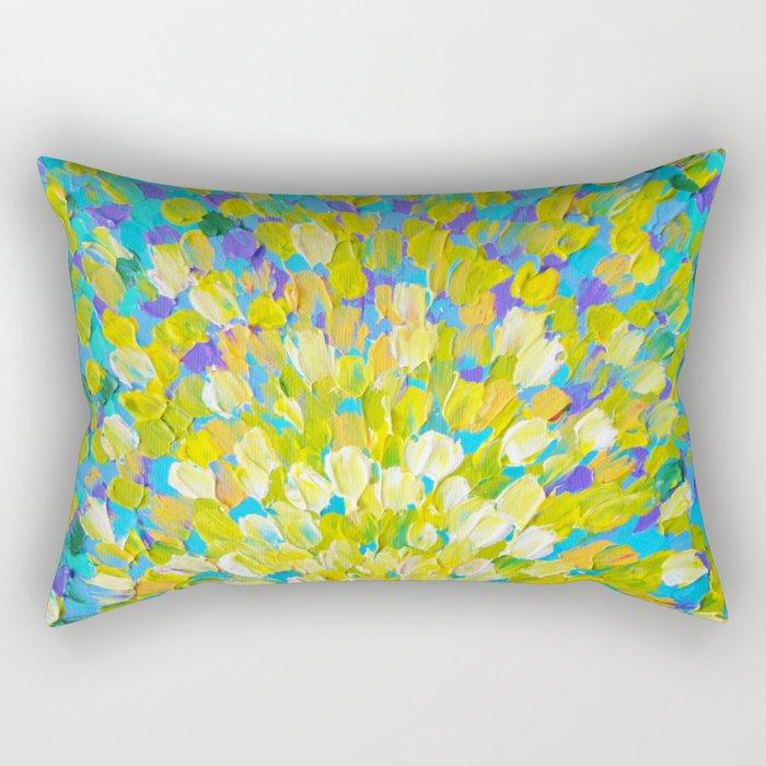 SPLASH 2 - Bright Bold Ocean Waves Beach Ripple Turquoise Aqua Lime Lemon Colorful Rainbow Wow Rectangular Pillow