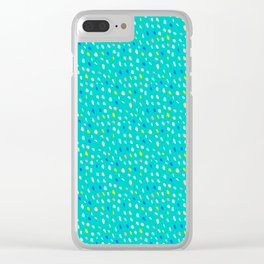 Teal Party Paint Dots Clear iPhone Case
