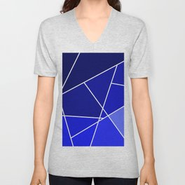 Blue Line Pattern Unisex V-Neck