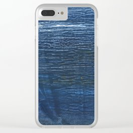 Metallic blue abstract watercolor background Clear iPhone Case