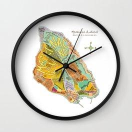 Mackinac Island Illustrated Map Wall Clock
