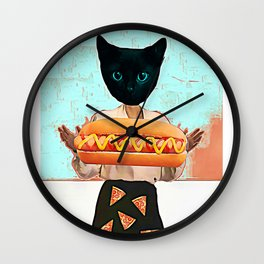 Let there be hot dogs and pizza rain Wall Clock