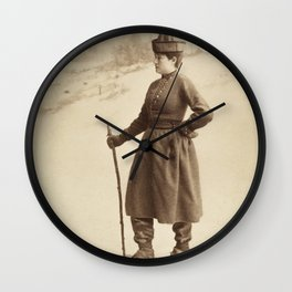 Vintage Skiing Photo of Eva Nansen Wall Clock