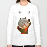 baseball Long Sleeve T-shirts featuring Baseball Moon by Mel Moongazer