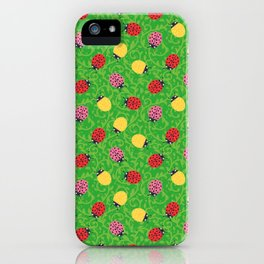 Ladybugs - Greenish Ornamental Foliage iPhone Case