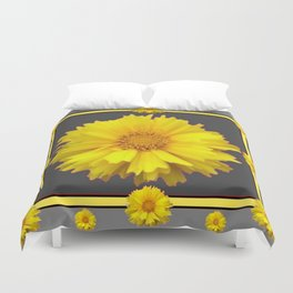 YELLOW & GREY  ART COREOPSIS FLOWERS Duvet Cover