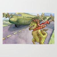 pilot Area & Throw Rugs featuring Tyranosaurus Pilot by Theresa Lammon