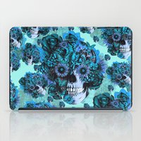 ohm iPad Cases featuring Full circle...Floral ohm skull pattern by Kristy Patterson Design