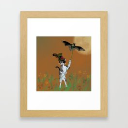 Cat Walking His Bat Framed Art Print