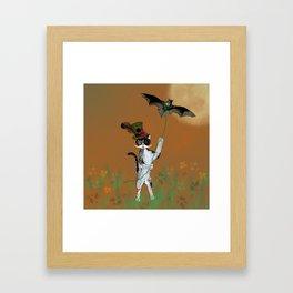 Cat Walking His Bat Framed Art Print
