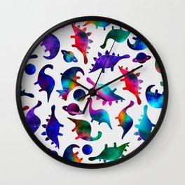 Rainbow Galaxy Watercolor Dinosaurs In Space Wall Clock