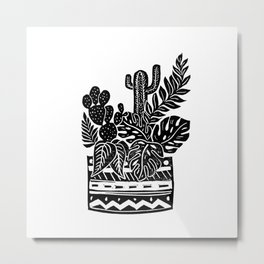 Botanical Pot Block Print Metal Print