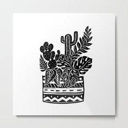 Botanical Pot Block Print Metal Print